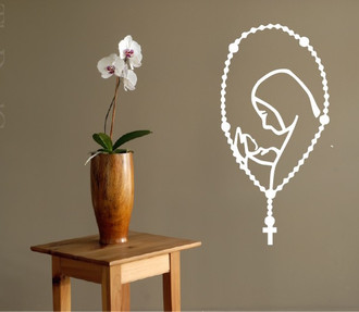 Mother Mary Rosary Wall Decal