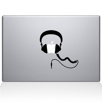 Headphones Macbook Decal Sticker Black