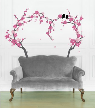 Cherry Blossom Heart Tree Wall Decal