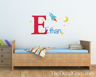 Space Ship Monogram Wall Decal