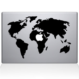 World Map Macbook Decal Sticker Black