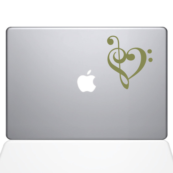 Music Heart Macbook Decal Sticker Gold