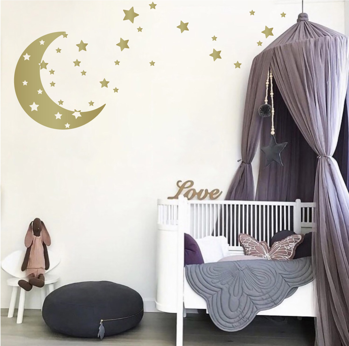 Moon Stars Nursery Wall Decals Removable Wall Decor Stickers For Boys Or Girls Kids Room