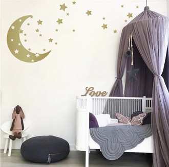 Moon & Stars Nursery Wall Decals - Removable Wall Decor Stickers for Boys or Girls Kids Room