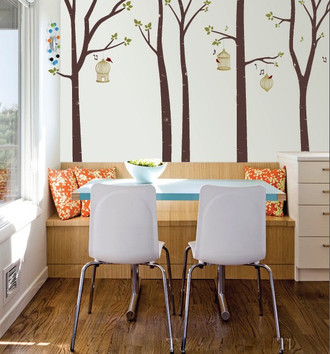 Bird Cages and Birch Trees Wall Decal