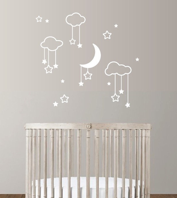 moon stars clouds | wall decals | the decal guru