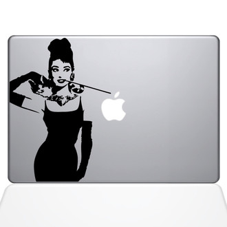 Audrey Hepburn Breakfast at Tiffanies Macbook Decal Sticker Black