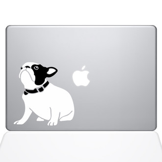 Cute Bulldog Macbook Decal Sticker Silver
