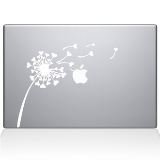 Dandelion Hearts Macbook Decal Sticker White
