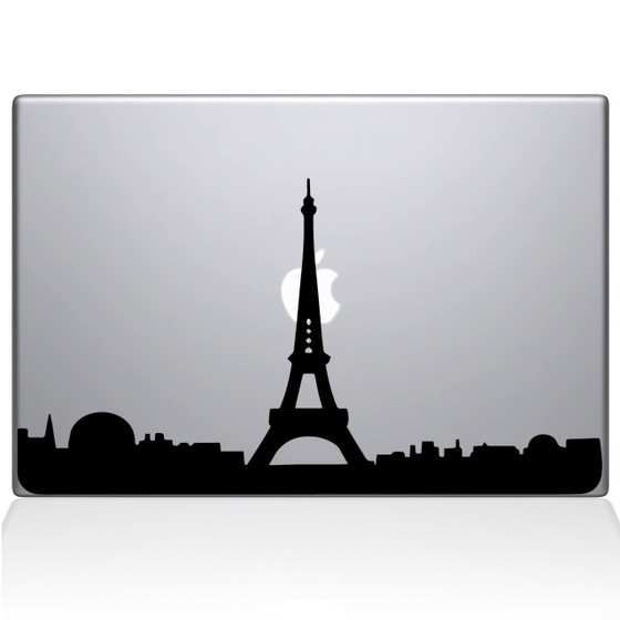 Paris City Skyline Macbook Decal Sticker Black