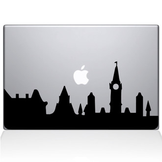 London City Skyline Macbook Decal Sticker Black