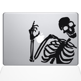 Skeleton Waves Hi Macbook Decal Sticker Black