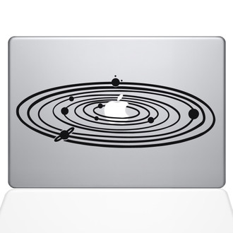 Solar System Macbook Decal Sticker Black