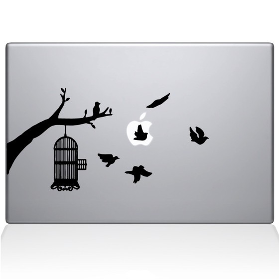 Birdcage tree Apple Ad Macbook Decal Sticker Black