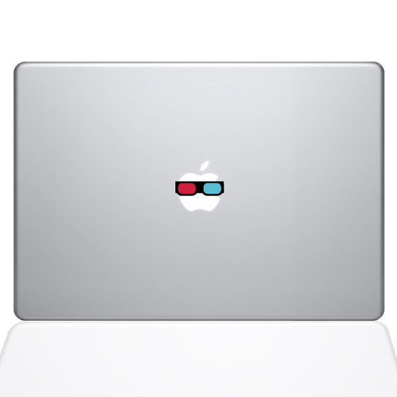 3D Glasses Macbook Decal Sticker Silver