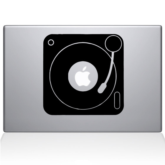 Turn Table Macbook Decal Sticker Black