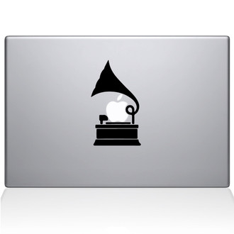 Gramophone Macbook Decal Sticker Black