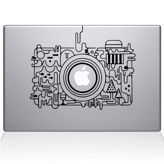 Abstract Camera Macbook Decal Sticker Black