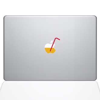 Apple Juice with Straw Macbook Decal Sticker Silver