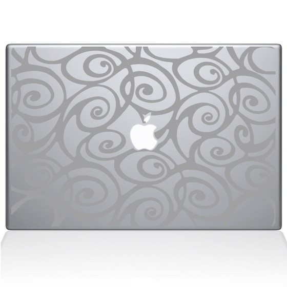 Curly Tangle Swirl pattern Macbook Decal Sticker Silver