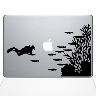Scuba Diver Explores Macbook Decal Sticker Black