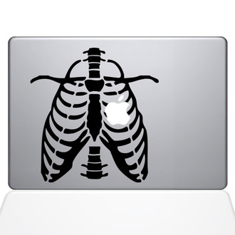 Ribcage Apple Heart Macbook Decal Sticker Black
