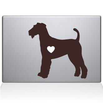 Airedale Terrier Love Silhouette Macbook Decal Sticker Brown