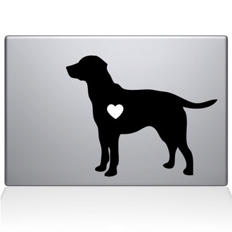 Labrador Retriever Love Silhouette Macbook Decal Sticker Black