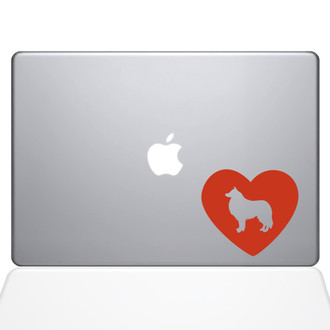 Heart Collie Macbook Decal Sticker Orange