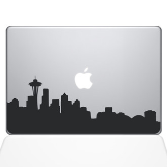 Seattle City Skyline Macbook Decal Sticker Black