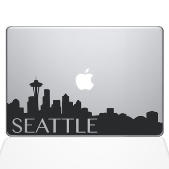 Seattle Skyline Macbook Decal Sticker Black