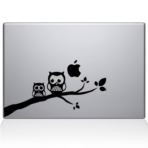 Two Owls on a  Branch Macbook Decal Sticker Black