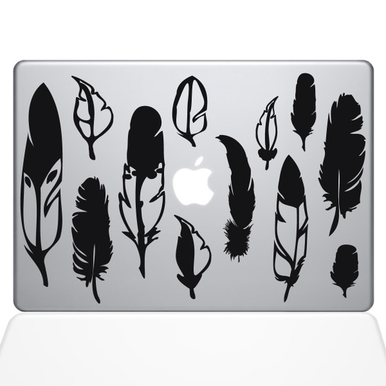 Woodland Feathers Macbook Decal Sticker Black