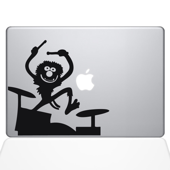 Animal on Drums Macbook Decal Sticker Black