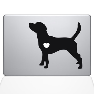 I Love My Beagle Macbook Decal Sticker Black