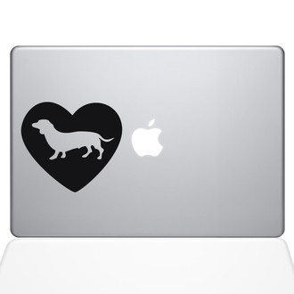 Heart Dachshund Macbook Decal Sticker Black