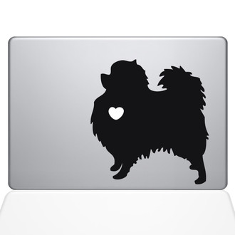 I Love My Pomeranian Macbook Decal Sticker Black
