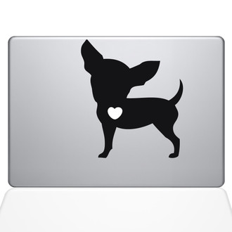 I Love My Chihuahua Macbook Decal Sticker Black