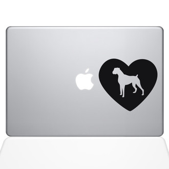 Heart Boxer Dog Macbook Decal Sticker Black