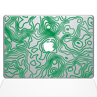 Topographic Map Macbook Decal Sticker Green