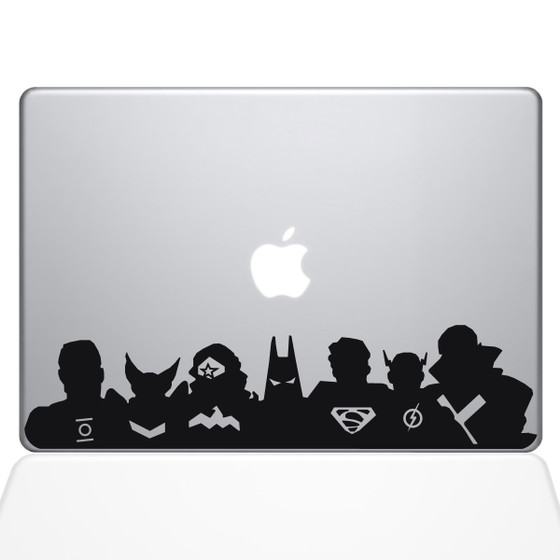 Justice League Super Heros Macbook Decal Sticker Black