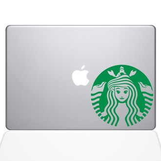 Little Mermaid Starbucks Logo Macbook Decal Sticker Green
