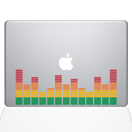 Music Volume Bars Macbook Decal Sticker Silver