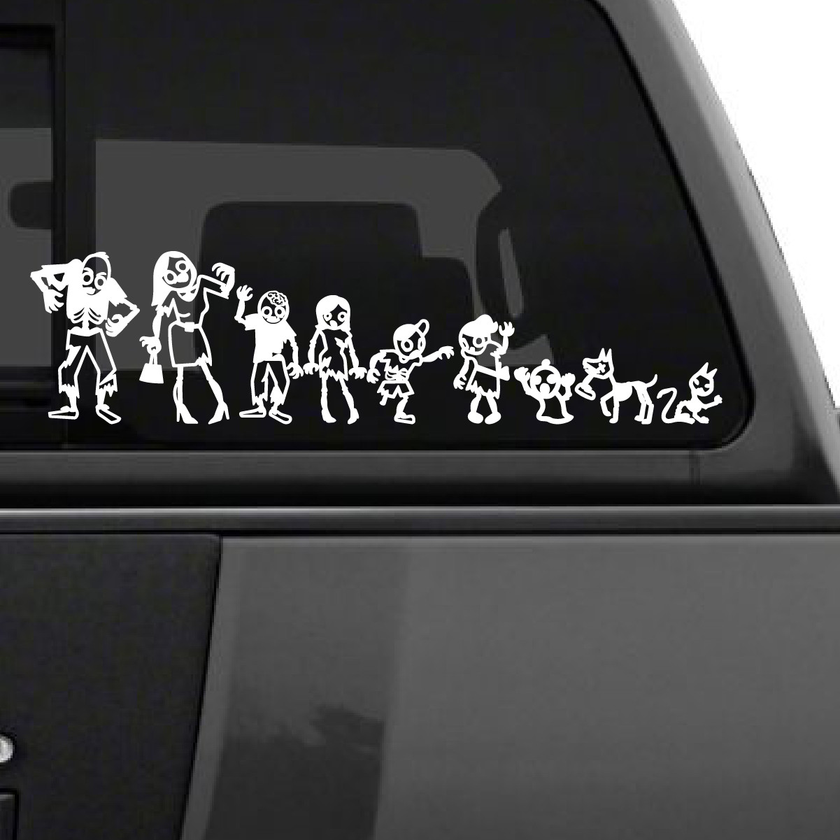 Zombie Stick Figure Family Car Decal