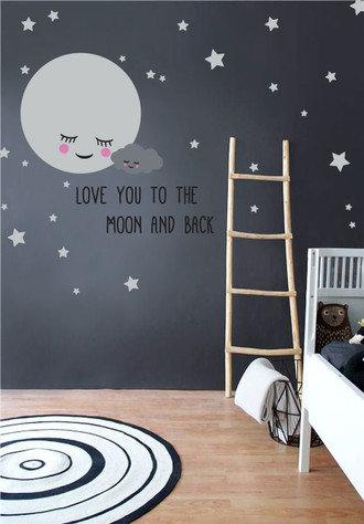 Moon & Stars Nursery Wall Decals with Removable Cute Baby Cloud and Quote Stickers for Kids Room