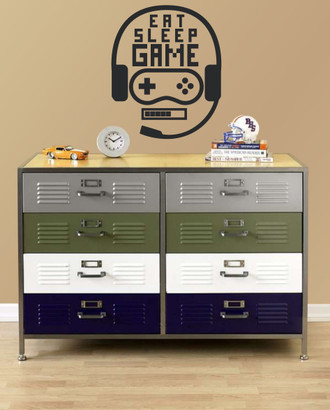 Eat Sleep Game Boys Room Gamer Wall Decal Sticker