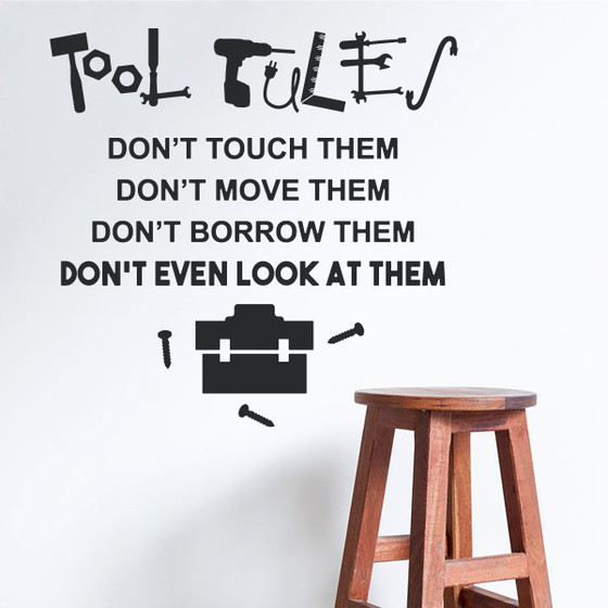 Tools Rule Wall Decal Quote - Great Dad Gift Sticker for Toolbox