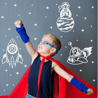 Monkeys in Space with Stars & Rocket Ships Vinyl Wall Decal Sticker for Boys Room