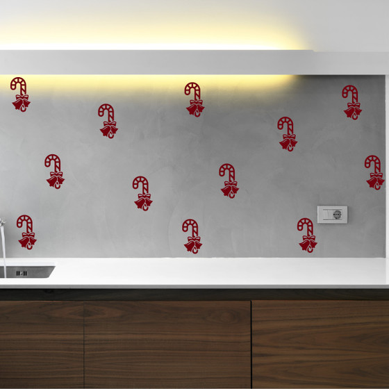 Candy Cane & Bow Holiday Season Vinyl Wall Decal Sticker