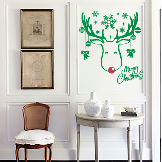 Holiday Rudolph & Red Nose Reindeer Seasonal Vinyl Wall Sticker Decal